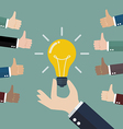 Thumbs up for good idea vector image vector image