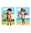 traveling kids vector image