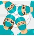 Bottom view of group of surgeons vector image