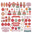 pattern with christmas toys icons set vector image
