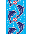 Seamless sea vertical border with dolphins vector image
