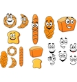 Cartoon breads with happy smiling faces vector image