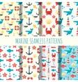 Marine seamless pattern set vector image