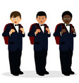 a boy in a suit american chinese african vector image