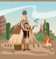 american indian smoking pipe vector image