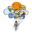 astronaut spaceman planets in solar system vector image vector image