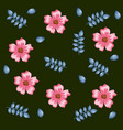 beautiful flowers and leafs decorative pattern vector image vector image