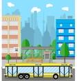 Bus stop city road trees trash bin clouds vector image vector image