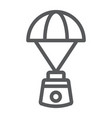 capsule parachute line icon space and exploration vector image vector image