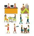characters in a cafe vector image