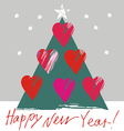 Christmas tree with hearts vector image vector image