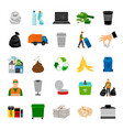 color icons garbage collection vector image vector image