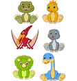 cute baby dinosaurs cartoon collection set vector image vector image