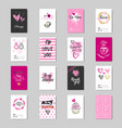 cute valentine day greeting cards set design vector image