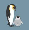 emperor penguins with chick vector image vector image