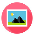 Flat Landscape Picture Circle Icon with Long vector image vector image