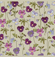 floral seamless pattern with pansy flowers vector image