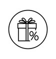 gift box percent sign sale icon editable thin vector image vector image