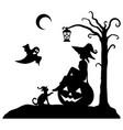 halloween black silhouette mystic scene vector image