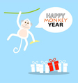 Happy New Year greeting card 2016 Year of Monkey vector image vector image