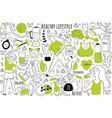 healthy lifestyle doodle set vector image