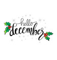 hello december lettering greeting card vector image