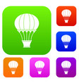 hot air balloon with basket set color collection vector image vector image
