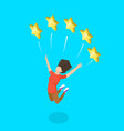 isometric flat concept five star rating vector image