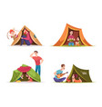 kids tent children with parents playing family vector image