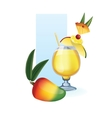 Mango in goblet of juice cocktail smoothie vector image