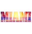 miami text with warm purple beach sunset vector image