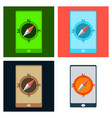 mobile phone with compass on screen - gps concept vector image