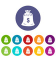 money bag icons set color vector image