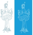 ornate silhouette of the bride with bow vector image vector image