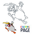 penguin cartoon coloring page vector image vector image