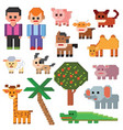 pixel character farm animal pixelart and vector image