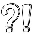 question and exlamation marks hand drawn sketch vector image vector image