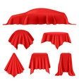 red silk covered revealer cloth realistic vector image vector image