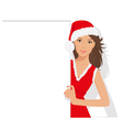 santa girl with sign vector image vector image
