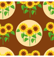 Seamless pattern with sunflowers and circles vector image vector image
