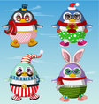 Set of cute penguins winter clothes vector image