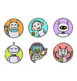set round robot icon on white background vector image vector image