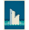 Shark poster background vector image vector image