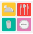 Silver platter cloche fork spoon knife glass vector image vector image