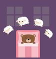 sleeping bear jumping sheeps cant sleep going vector image vector image