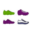 soccer shoes icon set color outline style vector image