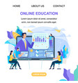 students watch online training video with teacher vector image vector image