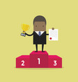 success businessman standing on podium vector image vector image