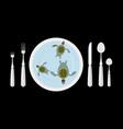 turtle soup delicatessen food cutlery table vector image