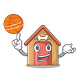 with basketball cartoon funny dog house with dish vector image